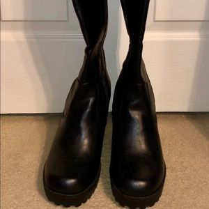Black pleather knee high boots 9.5 W